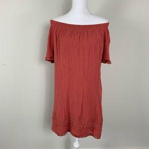 Ann Taylor off shoulder dress rust orange mini